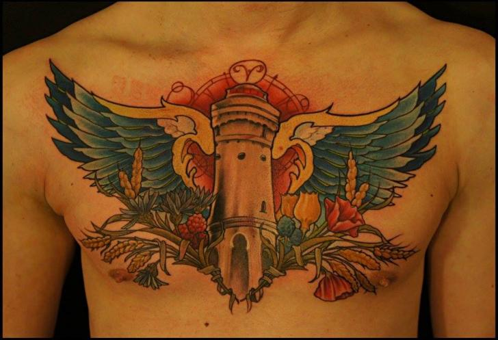 Wing Beacon Chest tattoo by White Rabbit Tattoo