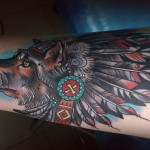 Wise Old Dog Indian tattoo