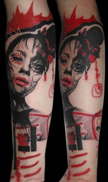 Woman In Love Trash Polka tattoo