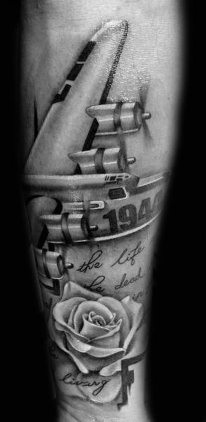 World War Bomber Letter tattoo by Westfall Tattoo