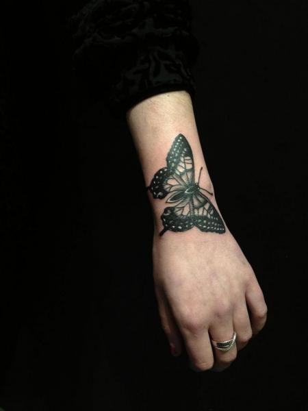 Wrist Butterfly tattoo by Hidden Moon Tattoo