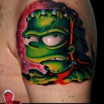 Zombie Frankenstein Bart New School tattoo
