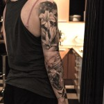 Cat Skull and Flowers tattoo sleeve