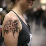 Pale Pink Rose tattoo on Shoulder