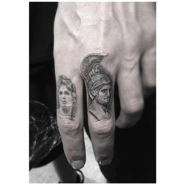 Alexander of Macedon Finger tattoo by Dr Woo