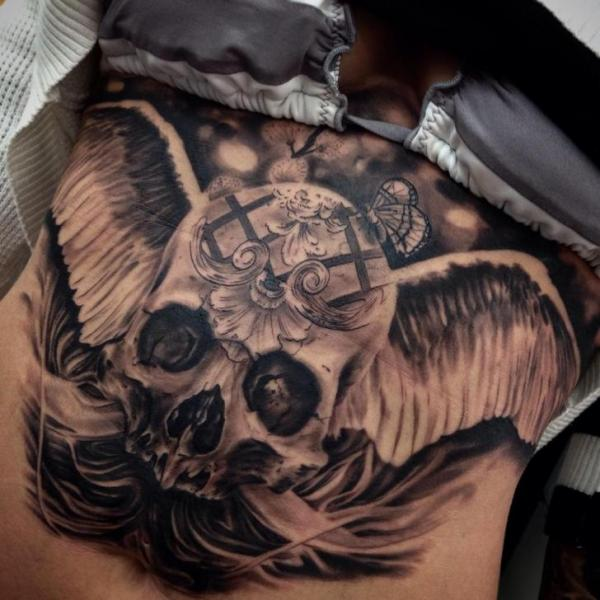 Angel Wings Scull Realistic tattoo by Drew Apicture
