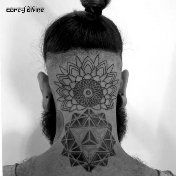 Bac of the Head Mandalas Dotwork tattoo by Corey Divine