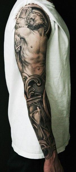 Christ Suffering Sand Clock tattoo sleeve