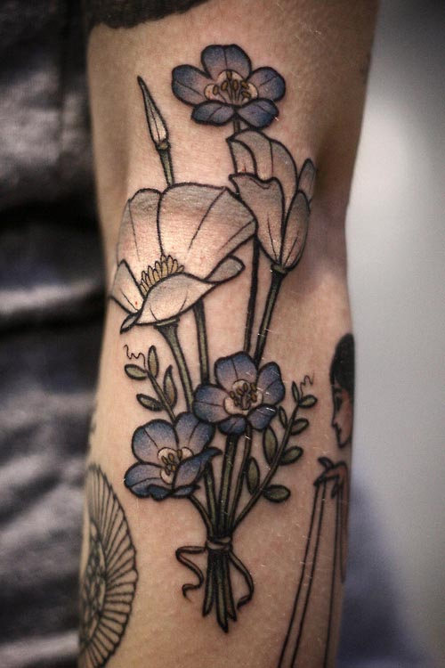 Blue Flower Tattoo on leg