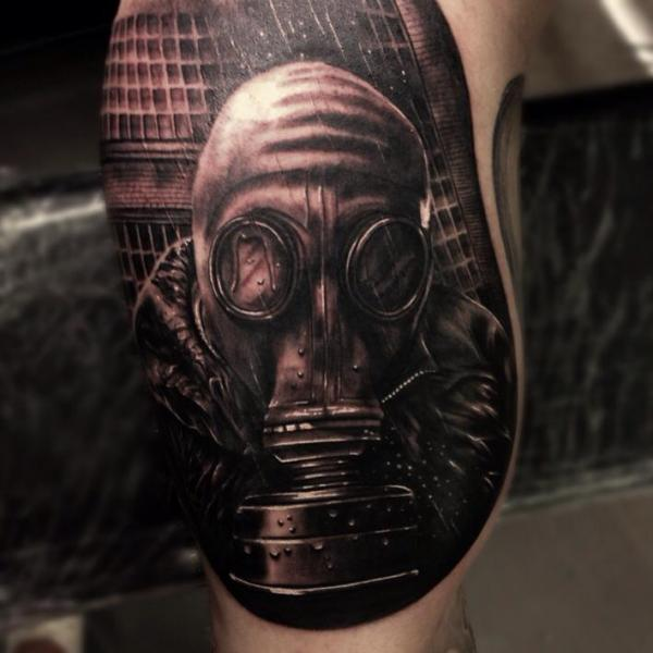 Gas Mask Stalker Realistic tattoo by Drew Apicture