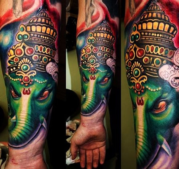 Green Ganesha Head Religious tattoo