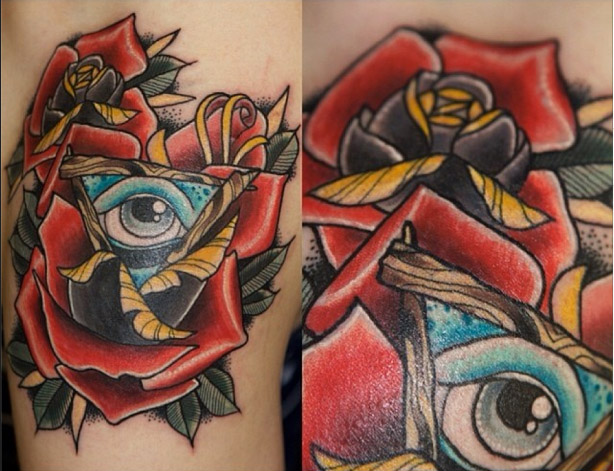 Rose Triangle Eye Old School tattoo by Last Angels Tattoo