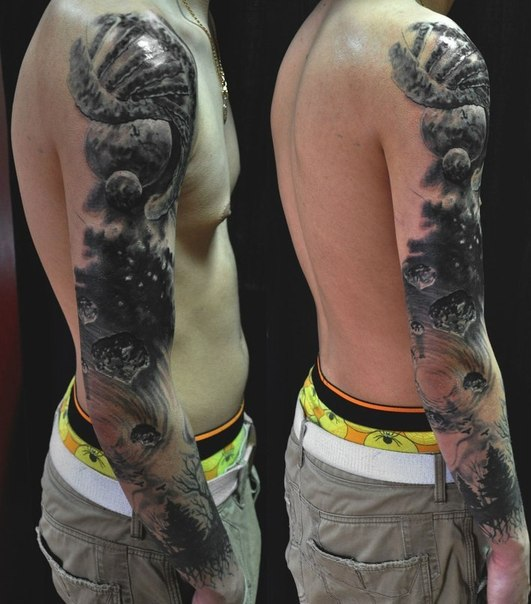 Space Blackwork tattoo sleeve