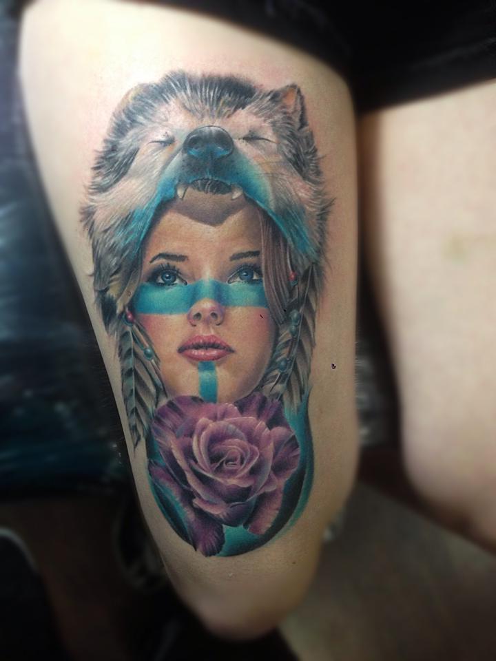 Wild Wolf Rose Girl Indian tattoo