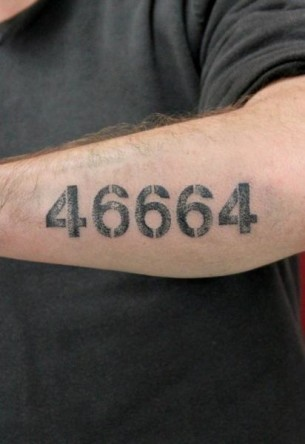 46664 Lettering tattoo by Skin Deep Art
