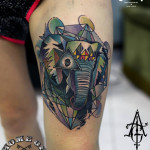 Abstract Elephant tattoo by Agat Artemji