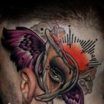 Abstract Eye New School Head tattoo by Piranha Tattoo Supplies