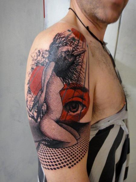 Abstract Girl Eye and Bird tattoo by Xoïl