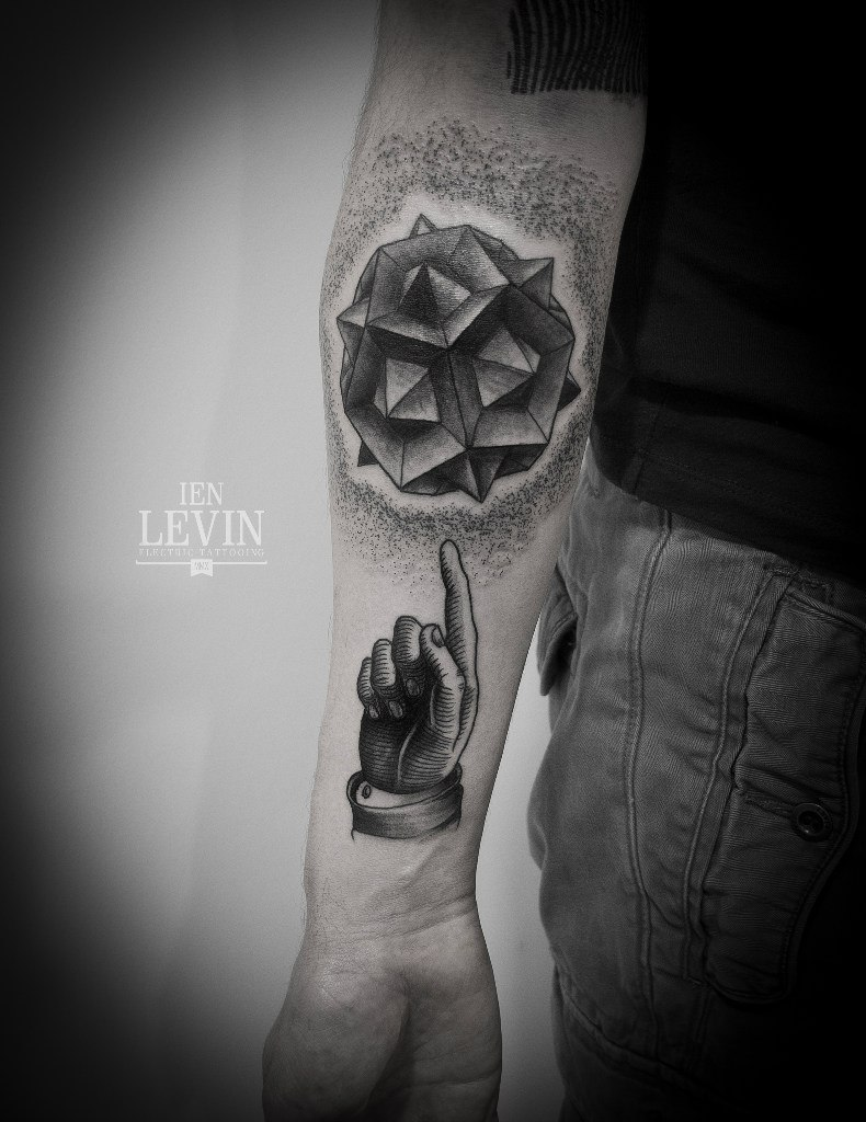 Abstract Pointing Finger Dotwork tattoo by Ien Levin