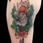 Acorn Antlers Buck tattoo by Skin Deep Art