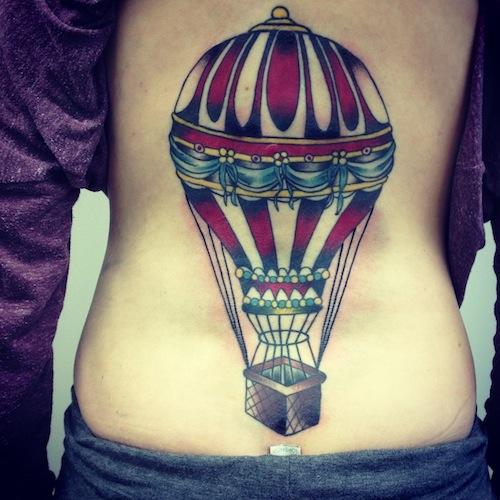 Air Balloon Back New School tattoo by Three Kings Tattoo