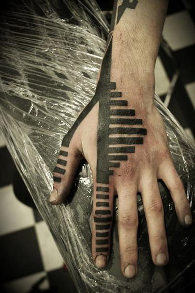 Along Fingers Small Rectangles Blackwork tattoo
