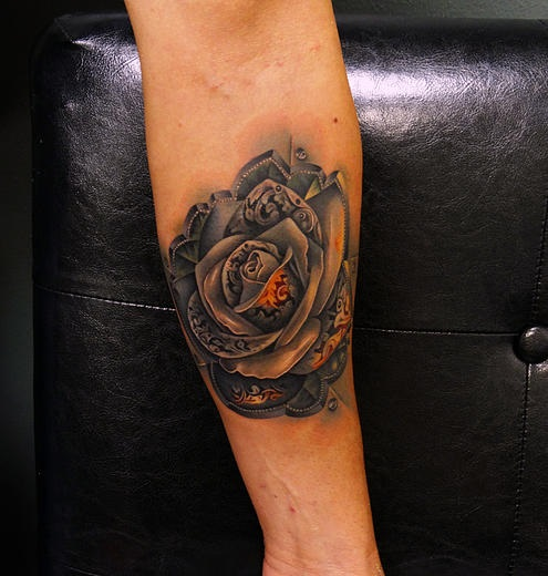Amazing Metal Rose Tattoo By Andres Acosta Best Tattoo Ideas Gallery