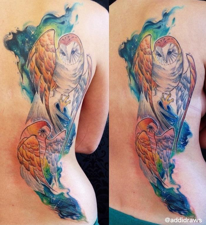 Amazing Owls in Space tattoo by Liisa Addi Kask