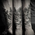 Amazing Rose Etching Dotwork tattoo by Ien Levin