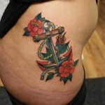 Anchor Rose Nautical tattoo by Tantrix Body Art
