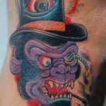 Angry British Monkey New School tattoo by Illsynapse
