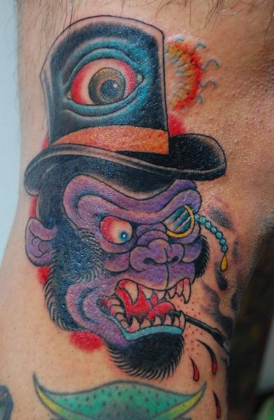 Angry British Monkey New School tattoo by Illsynapse