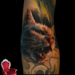 Angry Realistic Blood Cat tattoo by Piranha Tattoo Supplies