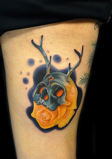 Antlers Skull Rose tattoo by Andres Acosta