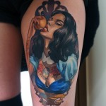 Apple Eating Gipsy Girl tattoo by Valentina Ryabova