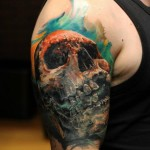Aquarelle Background Skull tattoo by Bloodlines Gallery