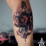 Arm Bear tattoo by Agat Artemji