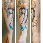 Arm Peacock Aquarelle tattoo by Julia Rehme