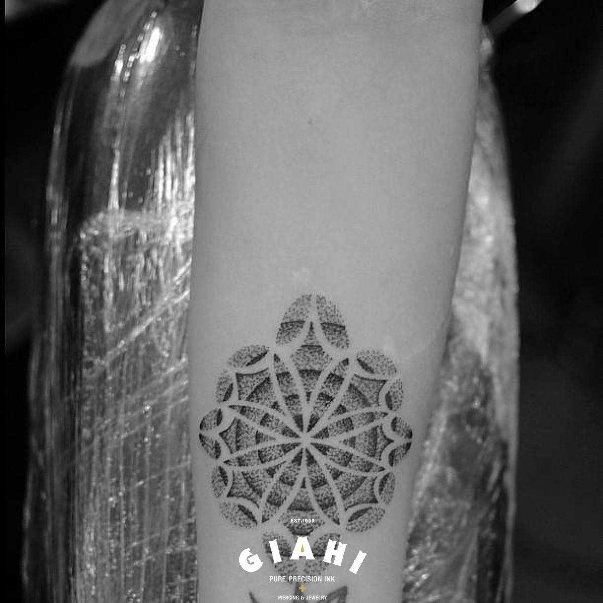 Arm Petals Flower Dotwork tattoo by Andy Cryztalz