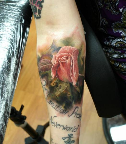 Arm Pink Rose tattoo by Bloodlines Gallery
