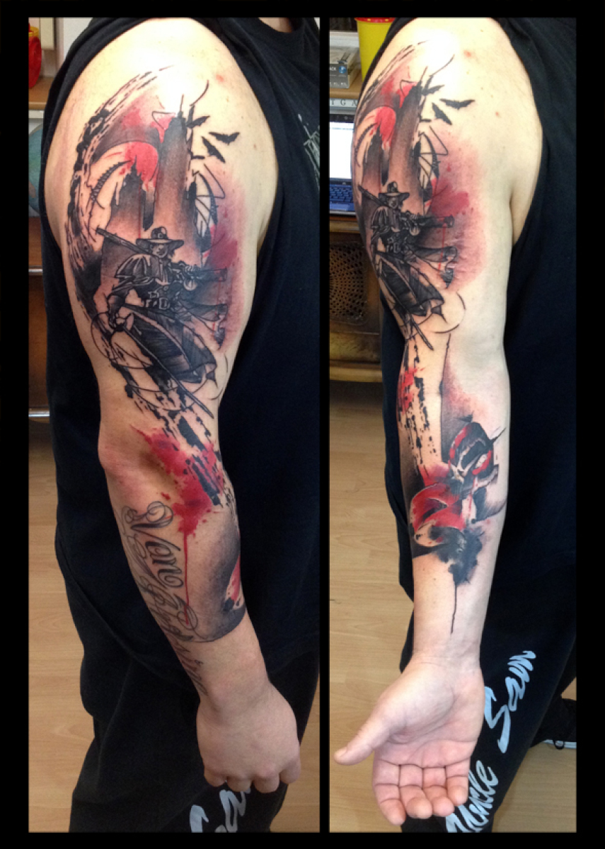 Arm Rifle Cowboy tattoo by Live Two