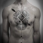 Arrow Cracked  Rose Skull Dotwork tattoo by Ien Levin