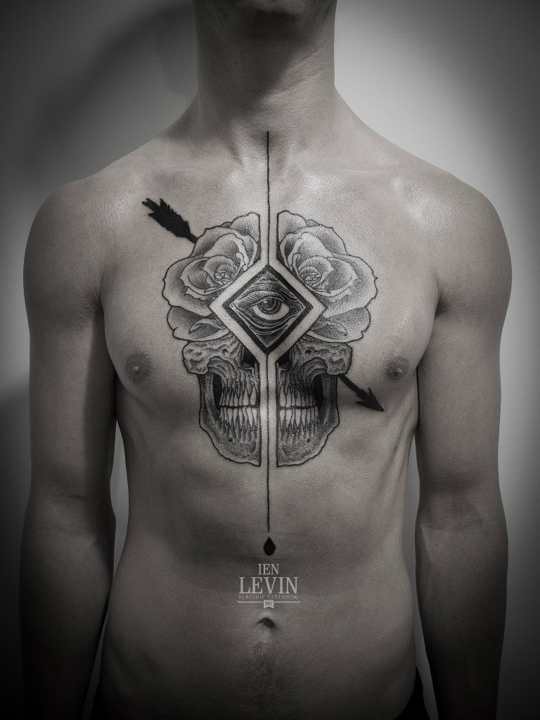 Arrow Cracked Rose Scull Dotwork tattoo by Ien Levin