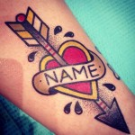 Arrow Heart Name Lettering New School tattoo by Destroy Troy Tattoos