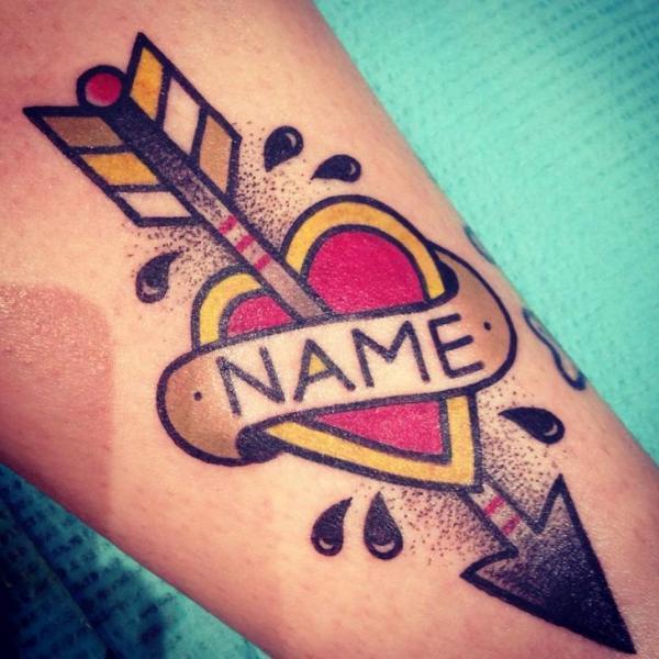 Arrow Heart Name Lettering New School tattoo by Destroy Troy Tattoos