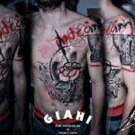 Arrow Rose Trash Polka tattoo by George Drone