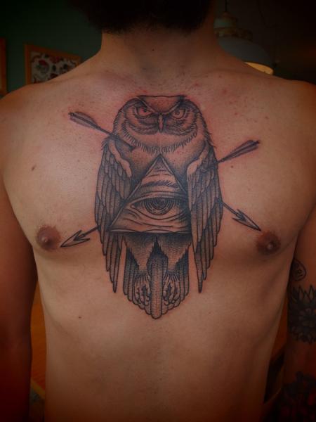 Arrow Shot Eye of Providence Owl Dotwork tattoo by Papanatos Tattoos