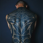 Awesome White Drawing Blackwork tattoo on Back