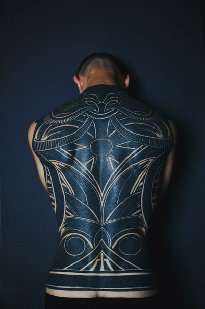 Awesome White Drawing Blackwork Tattoo On Back Best