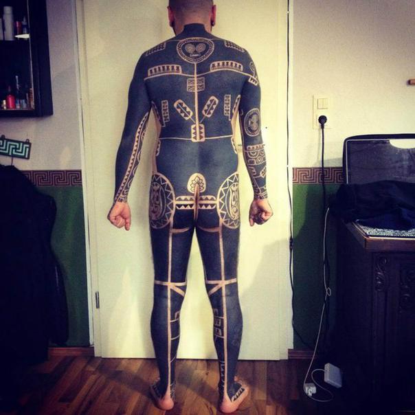 Aztec Full Body Blackwork tattoo